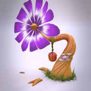 Low poly fantasy flower 3d model