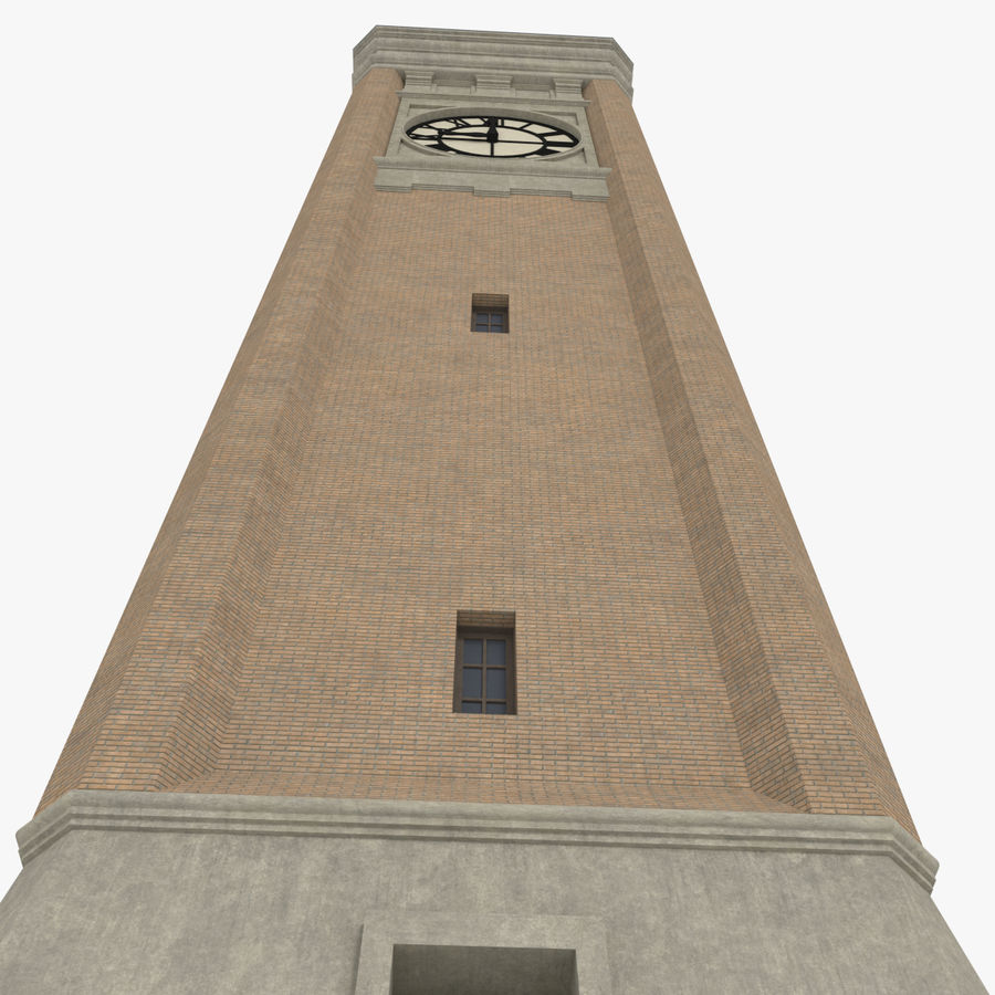 Clock tower three textured royalty-free 3d model - Preview no. 7