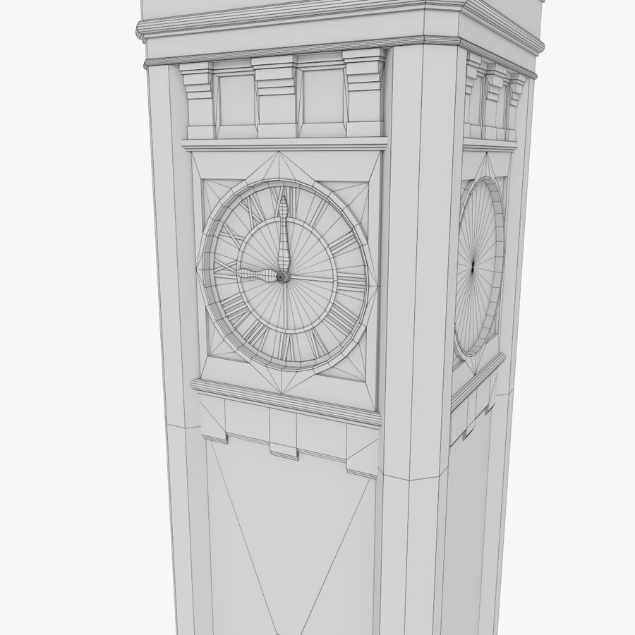 Clock tower three textured royalty-free 3d model - Preview no. 13