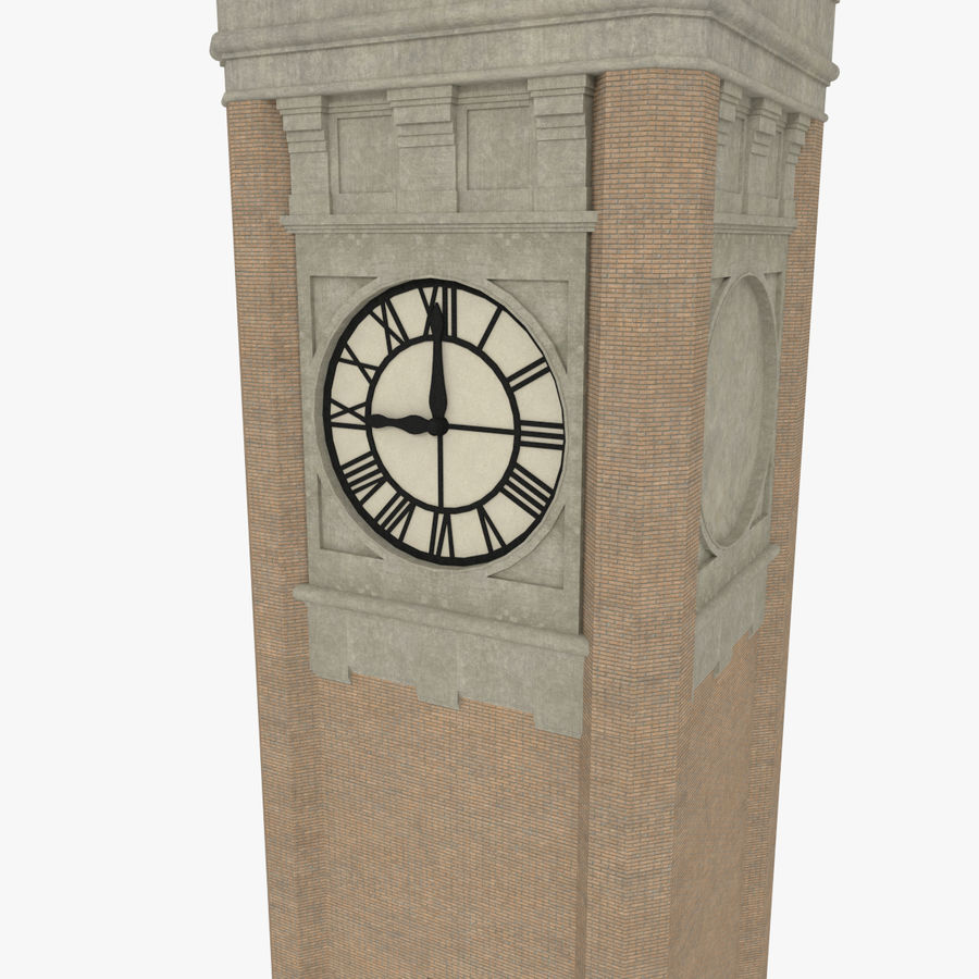 Clock tower three textured royalty-free 3d model - Preview no. 5