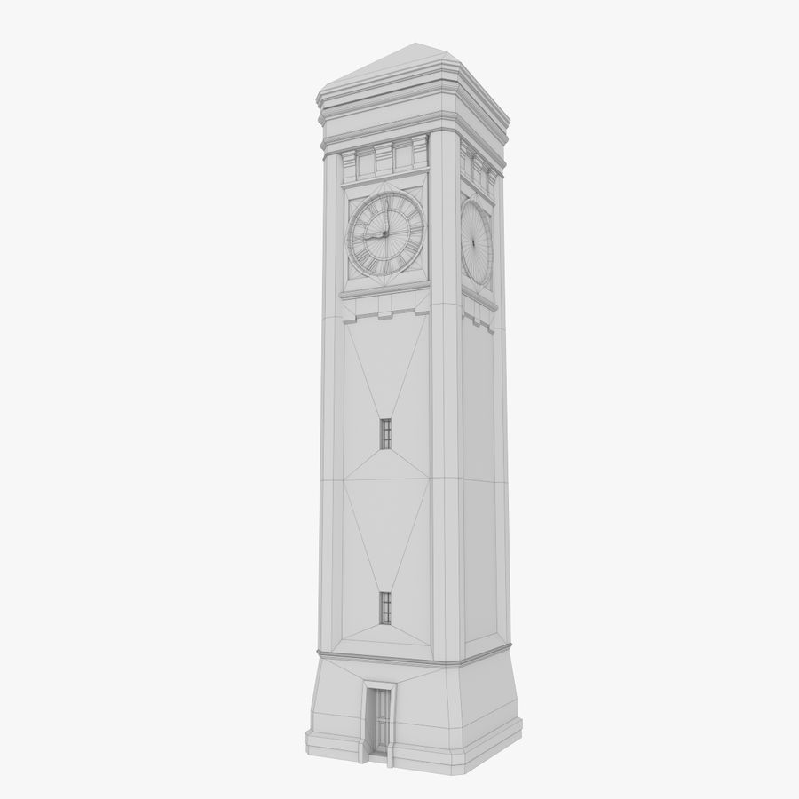 Clock tower three textured royalty-free 3d model - Preview no. 9