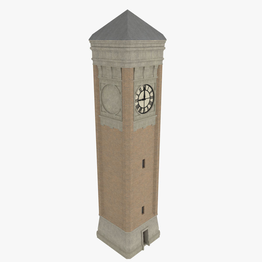 Clock tower three textured royalty-free 3d model - Preview no. 2