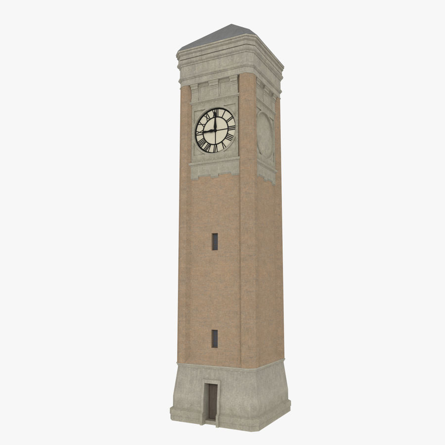 Clock tower three textured royalty-free 3d model - Preview no. 1