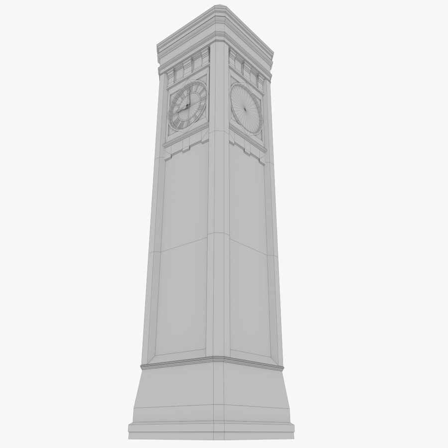 Clock tower three textured royalty-free 3d model - Preview no. 11