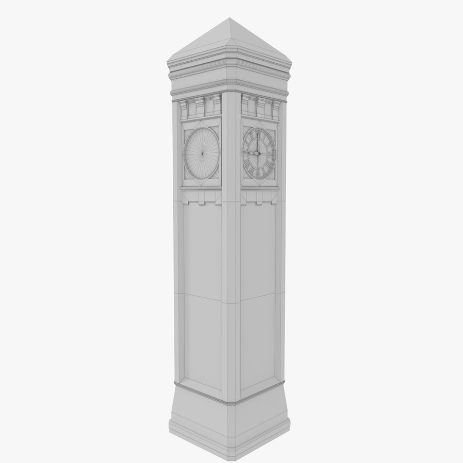 Clock tower three textured royalty-free 3d model - Preview no. 12