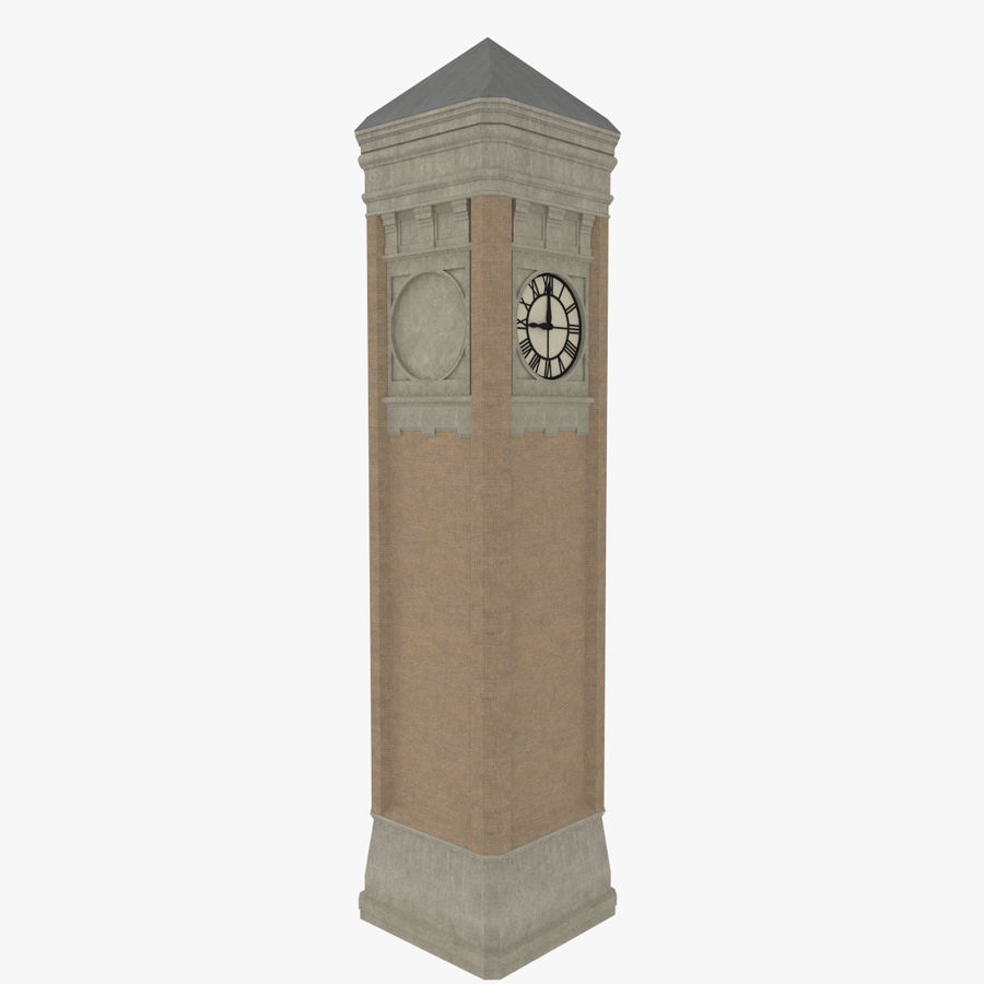 Clock tower three textured royalty-free 3d model - Preview no. 4