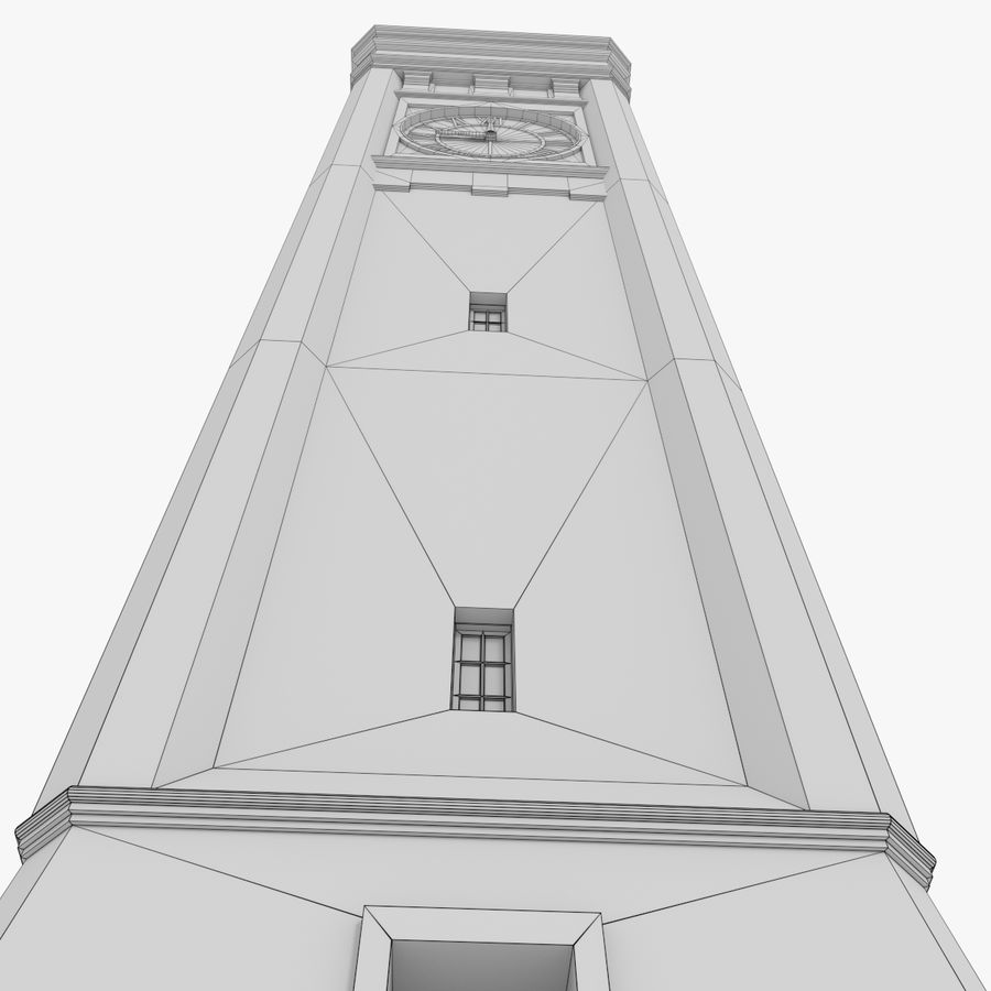 Clock tower three textured royalty-free 3d model - Preview no. 15