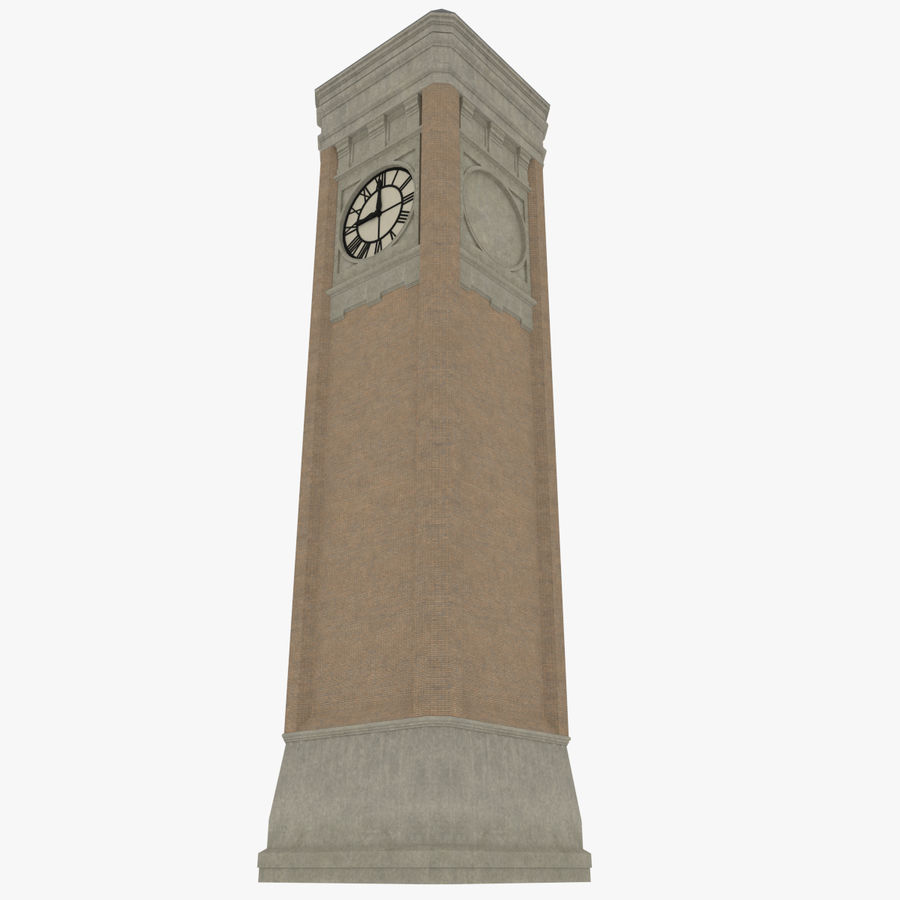 Clock tower three textured royalty-free 3d model - Preview no. 3