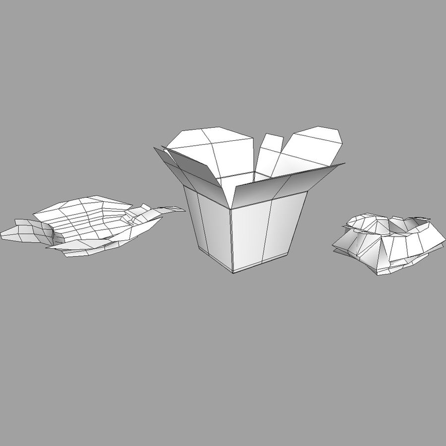 Chinese food box Oyster Pail royalty-free 3d model - Preview no. 4