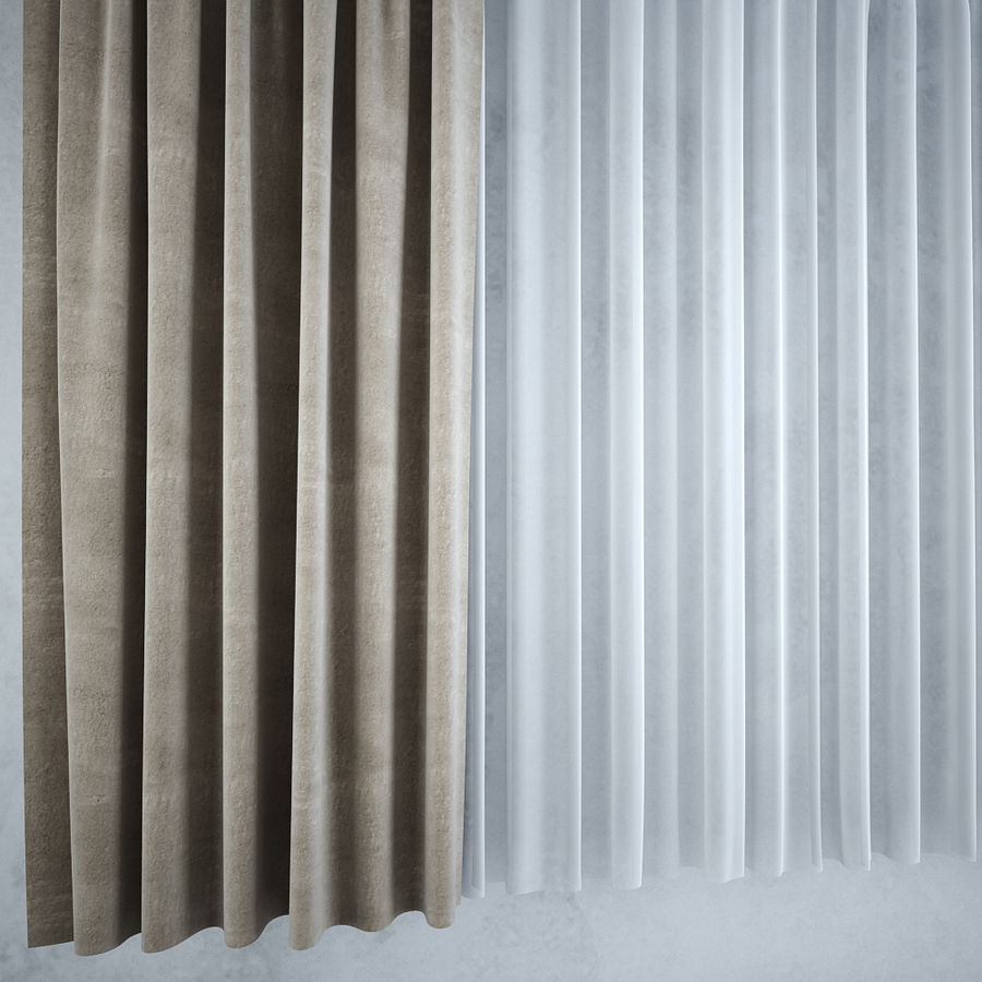 Curtains+tulle(blinds),,, royalty-free 3d model - Preview no. 4