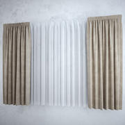 Curtains+tulle(blinds),,, 3d model