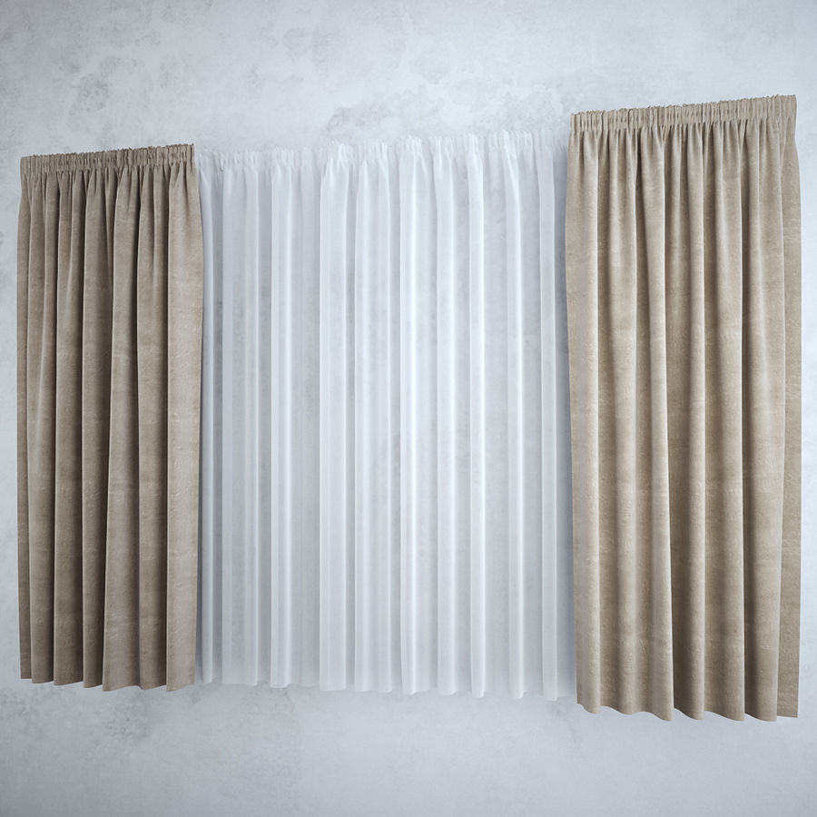 Curtains+tulle(blinds),,, royalty-free 3d model - Preview no. 1