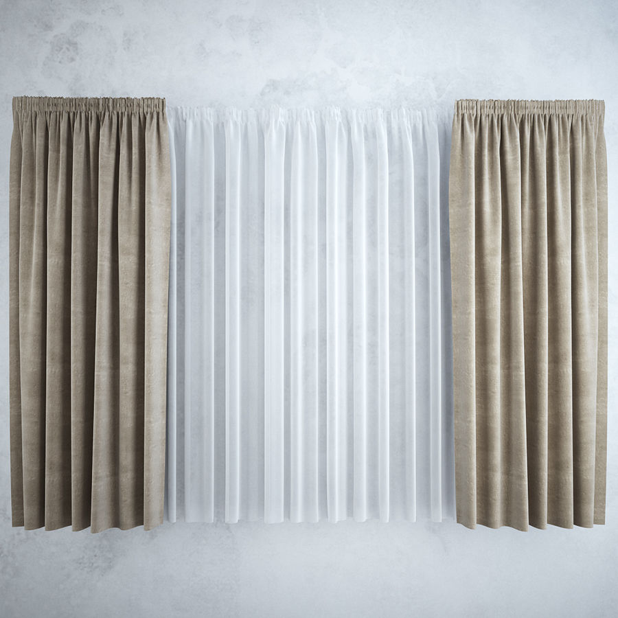 Curtains+tulle(blinds),,, royalty-free 3d model - Preview no. 3