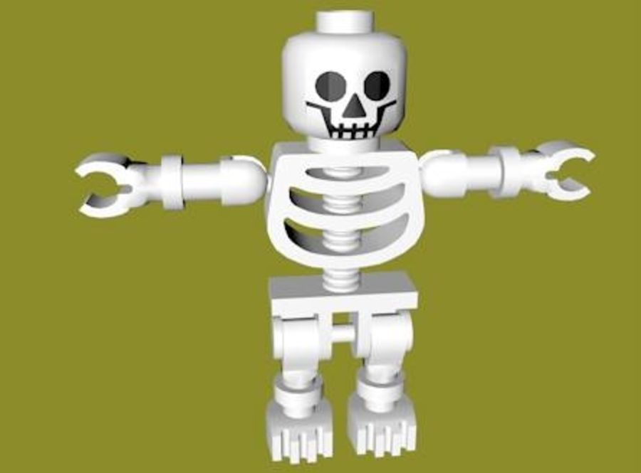 LEGO Skeleton (Rigged) royalty-free 3d model - Preview no. 5