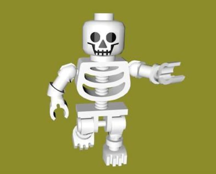 LEGO Skeleton (Rigged) royalty-free 3d model - Preview no. 2