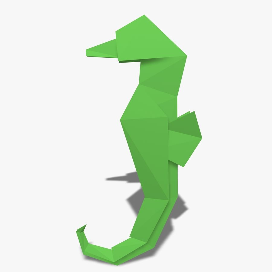 Origami Seahorse royalty-free 3d model - Preview no. 4