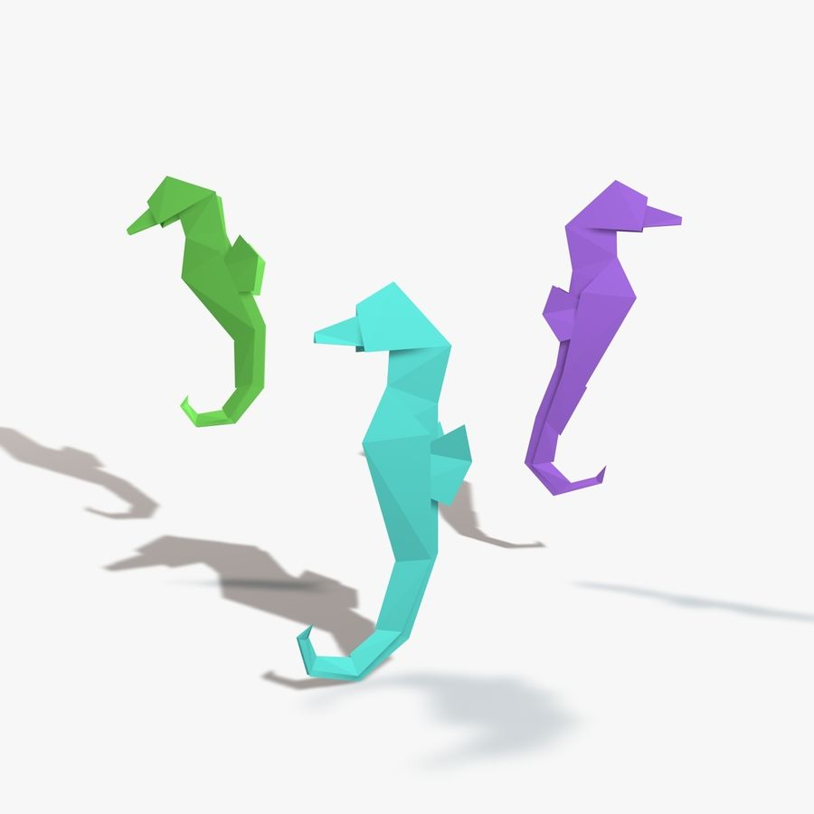 Origami Seahorse royalty-free 3d model - Preview no. 3
