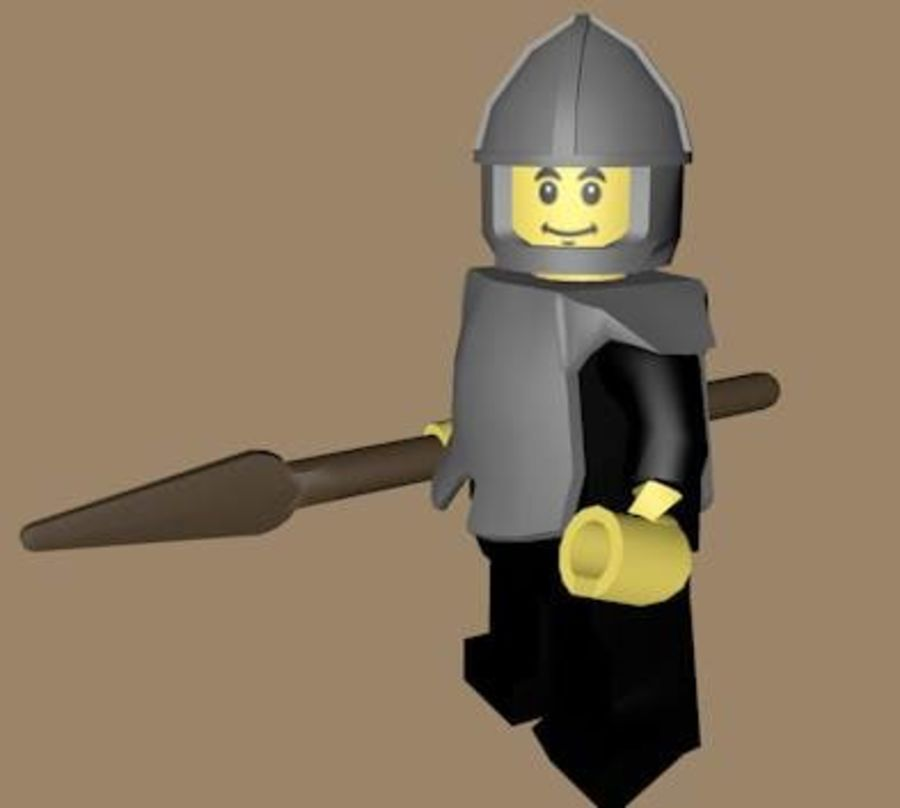 LEGO Spearman Character (truccato) royalty-free 3d model - Preview no. 3
