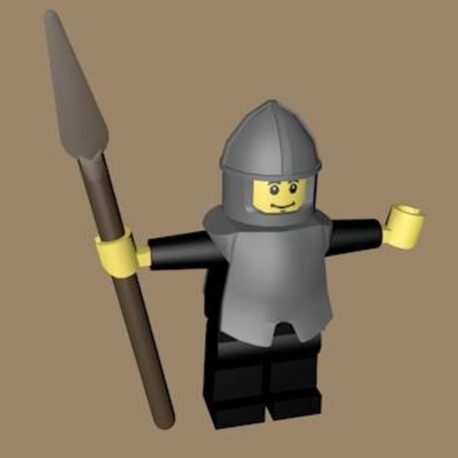 LEGO Spearman Character (rigged) royalty-free 3d model - Preview no. 6