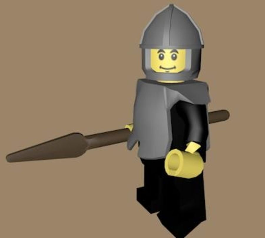 LEGO Spearman Character (rigged) royalty-free 3d model - Preview no. 3