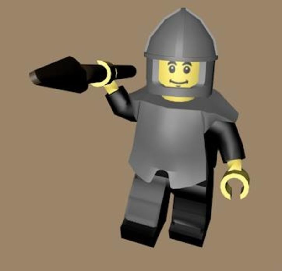 LEGO Spearman Character (rigged) royalty-free 3d model - Preview no. 4