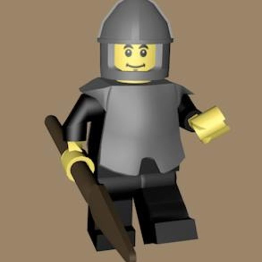 LEGO Spearman Character (rigged) royalty-free 3d model - Preview no. 2