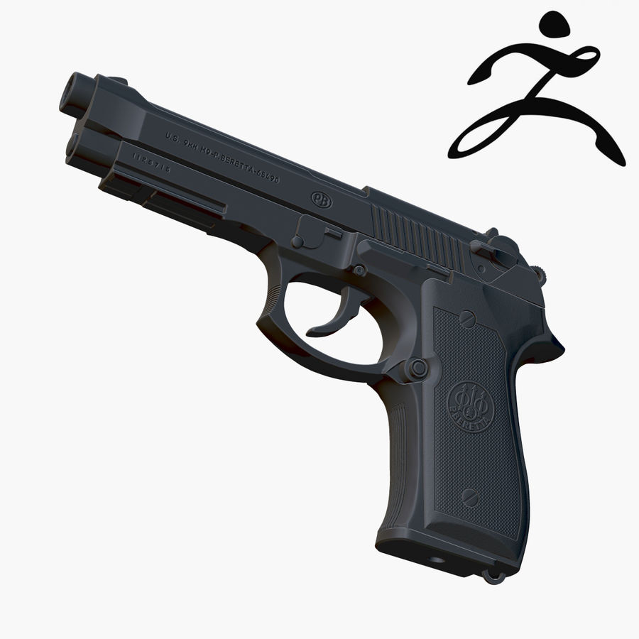 Beretta 92FS (M9) royalty-free 3d model - Preview no. 1