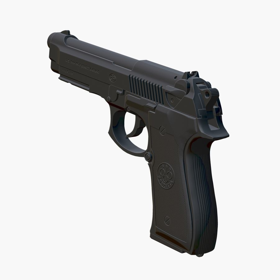Beretta 92FS (M9) royalty-free 3d model - Preview no. 4
