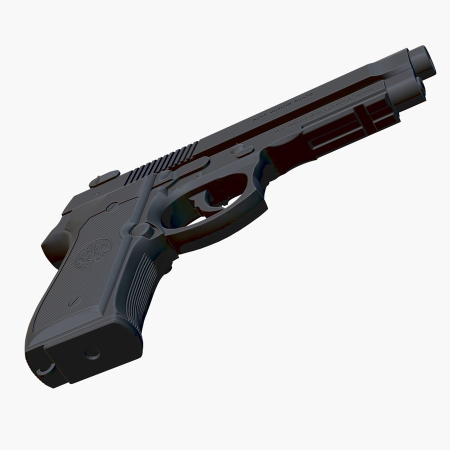 Beretta 92FS (M9) royalty-free 3d model - Preview no. 6