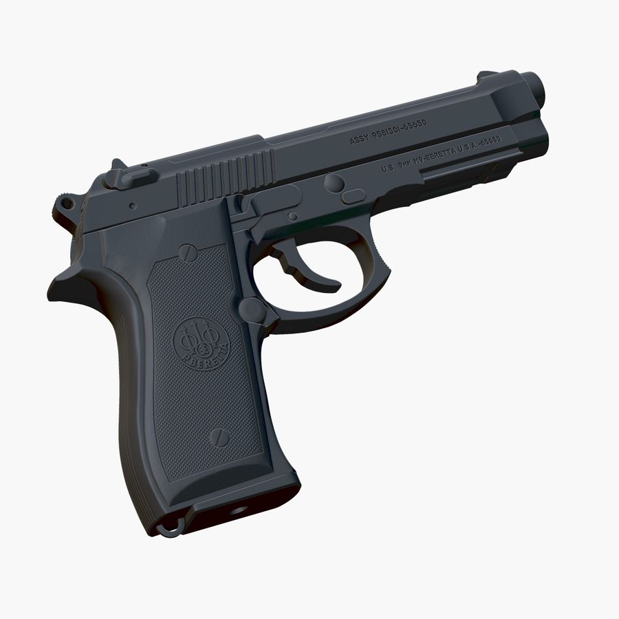 Beretta 92FS (M9) royalty-free 3d model - Preview no. 7
