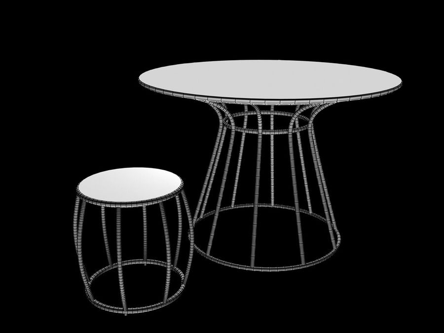 Dinner table Nusa Dua + Garden Seat Nusa Dua, from Tidelli In & Out royalty-free 3d model - Preview no. 3