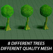 Árboles de diferente calidad de malla modelo 3d
