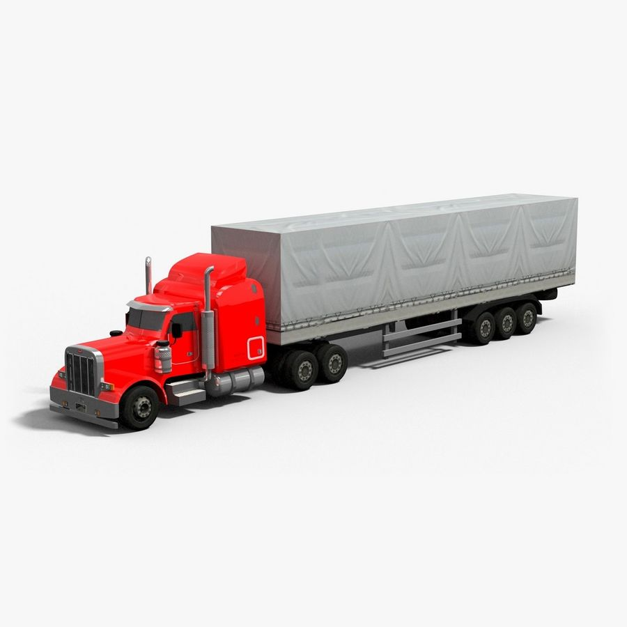 Semitruck royalty-free 3d model - Preview no. 1