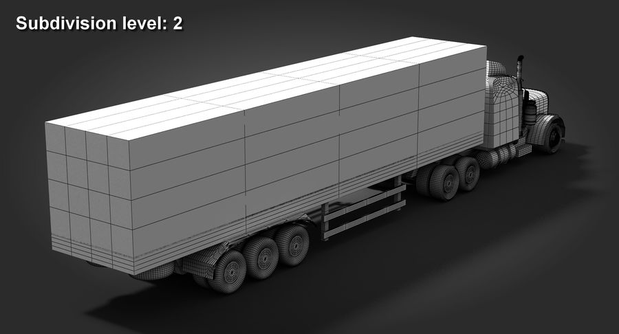 Semitruck royalty-free 3d model - Preview no. 12