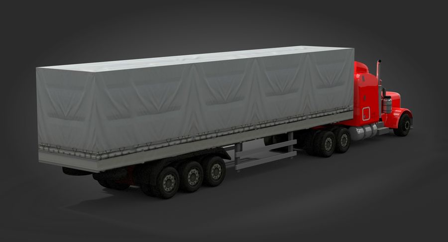 Semitruck royalty-free 3d model - Preview no. 5
