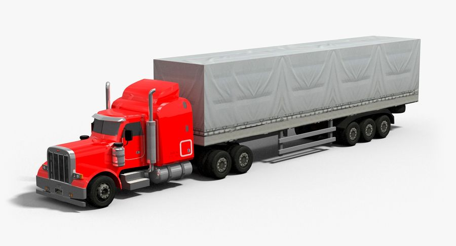 Semitruck royalty-free 3d model - Preview no. 2