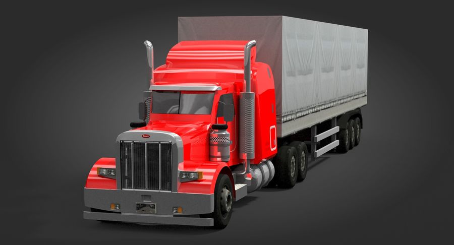 Semitruck royalty-free 3d model - Preview no. 4