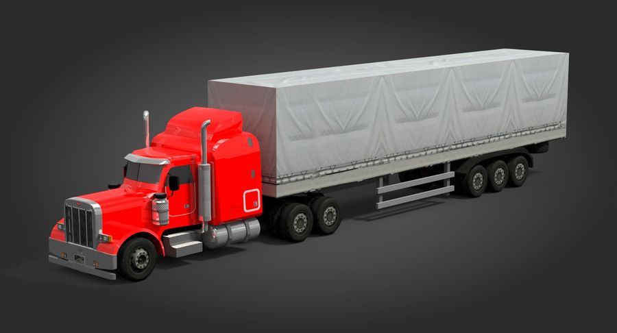 Semitruck royalty-free 3d model - Preview no. 3
