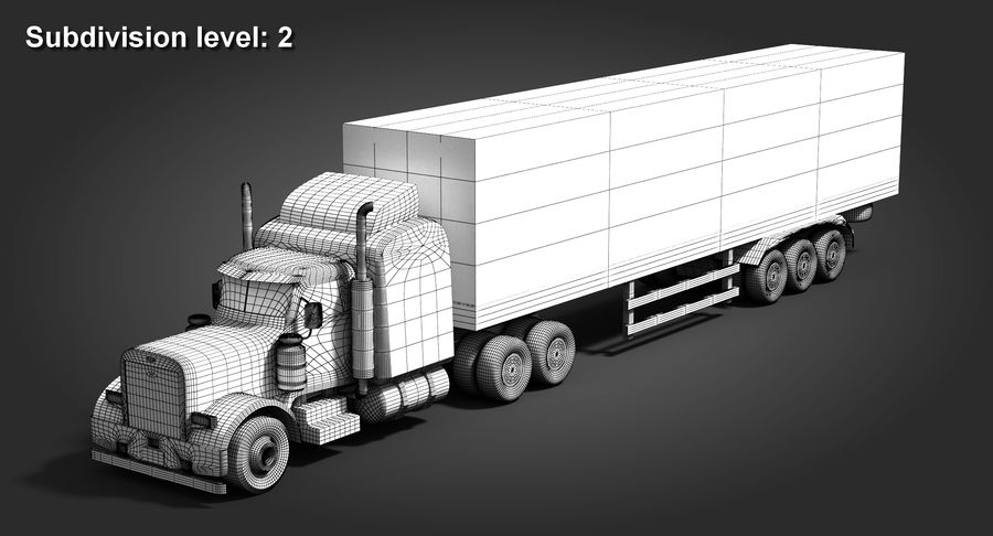 Semitruck royalty-free 3d model - Preview no. 10