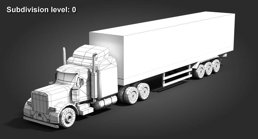 Semitruck royalty-free 3d model - Preview no. 9