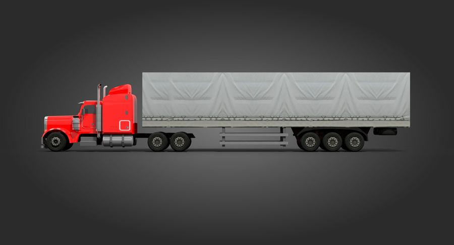 Semitruck royalty-free 3d model - Preview no. 6