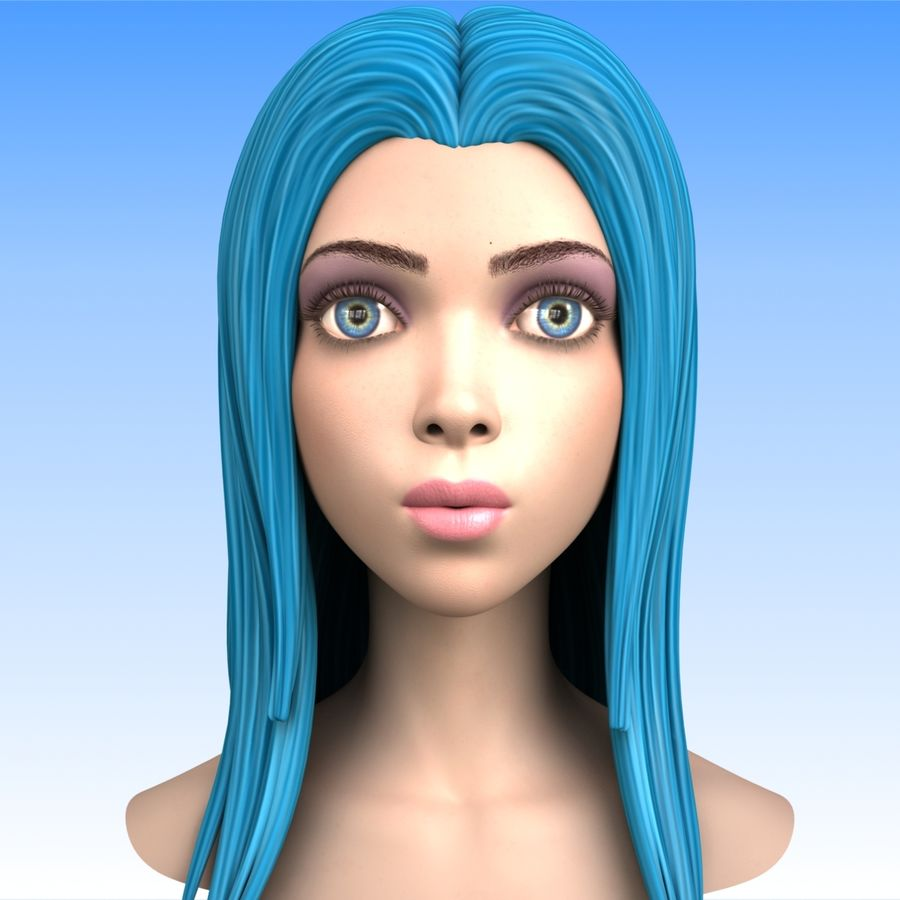 Cartoon Girl Head + Expressions royalty-free 3d model - Preview no. 6