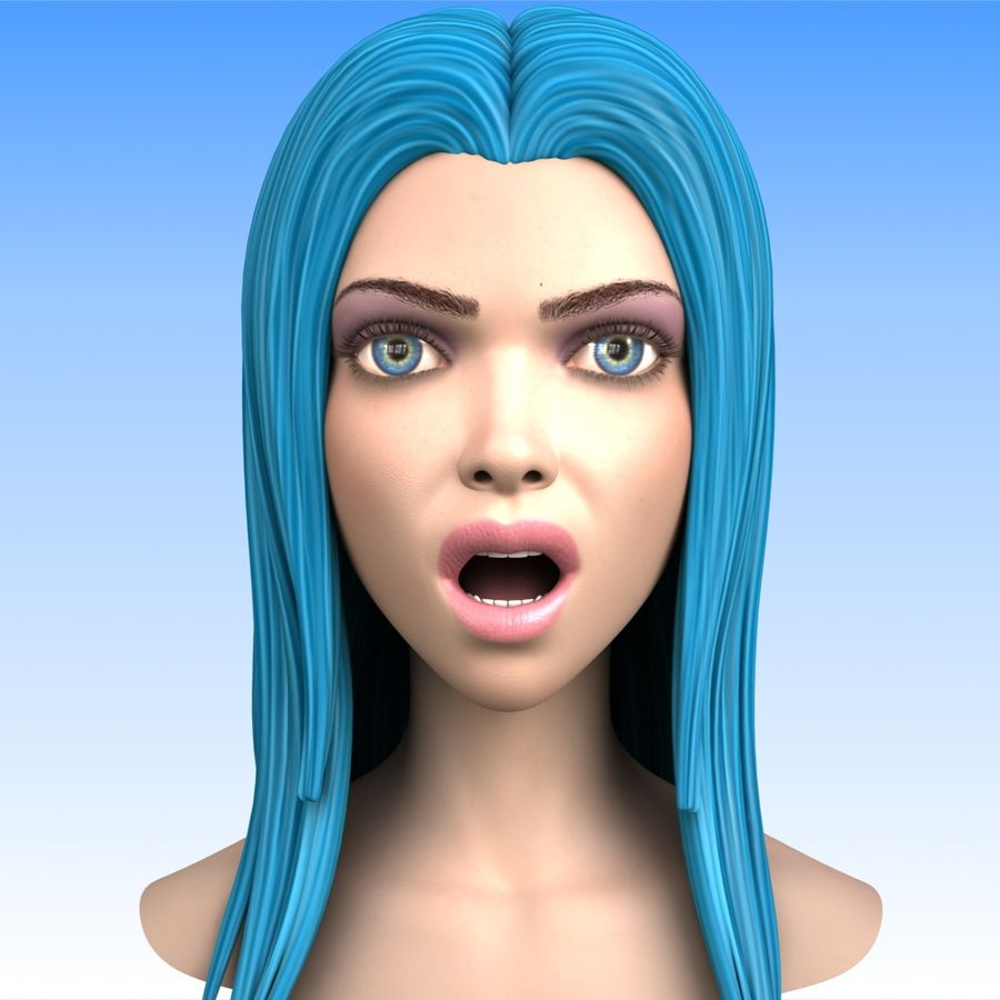 Cartoon Girl Head + Expressions royalty-free 3d model - Preview no. 7