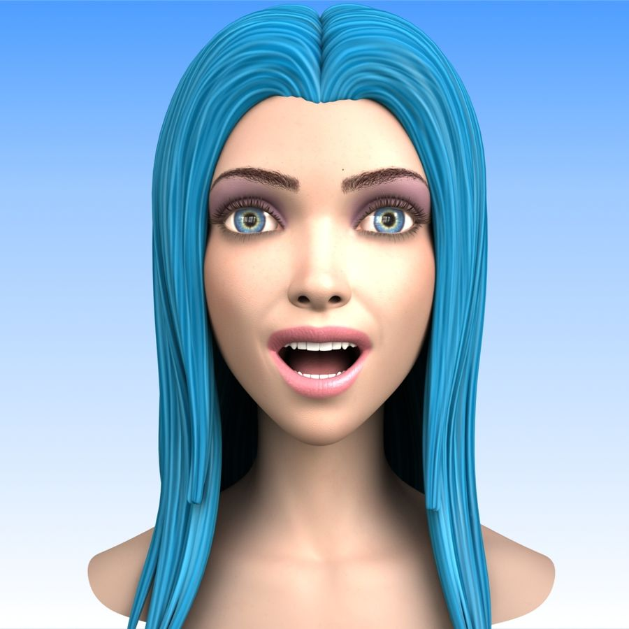 Cartoon Girl Head + Expressions royalty-free 3d model - Preview no. 4