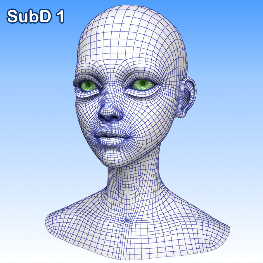 Cartoon Girl Head + Expressions royalty-free 3d model - Preview no. 29