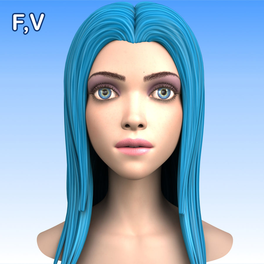 Cartoon Girl Head + Expressions royalty-free 3d model - Preview no. 21
