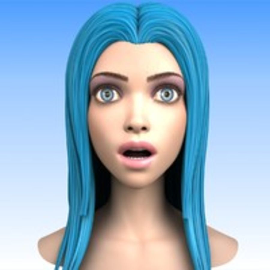 Cartoon Girl Head + Expressions royalty-free 3d model - Preview no. 9