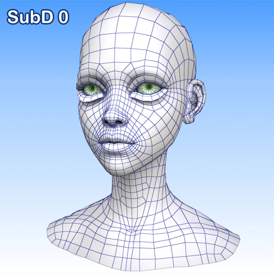 Cartoon Girl Head + Expressions royalty-free 3d model - Preview no. 28