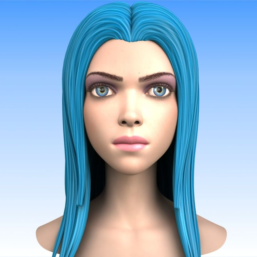 Cartoon Girl Head + Expressions royalty-free 3d model - Preview no. 3