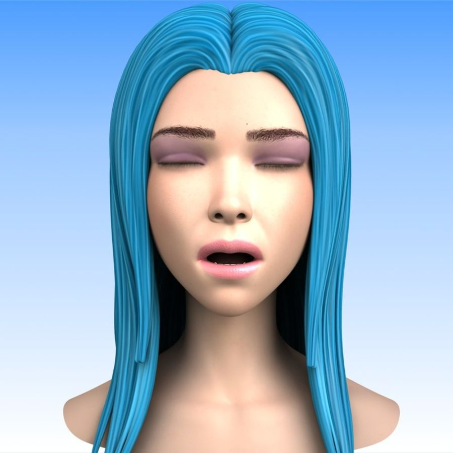 Cartoon Girl Head + Expressions royalty-free 3d model - Preview no. 10
